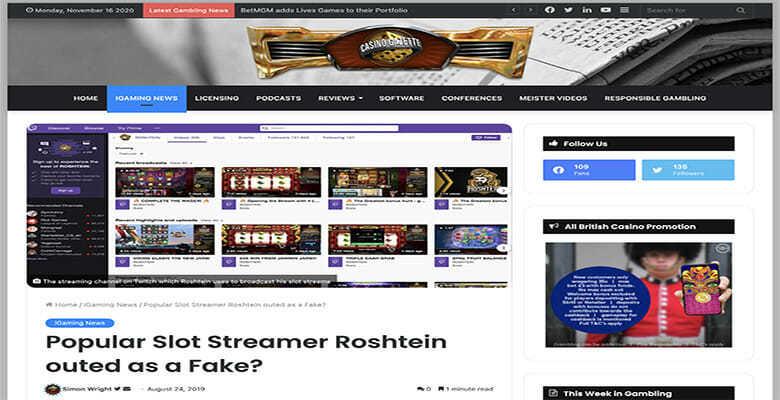 Casino Gazette melaporkan Roshstein sebagai Palsu